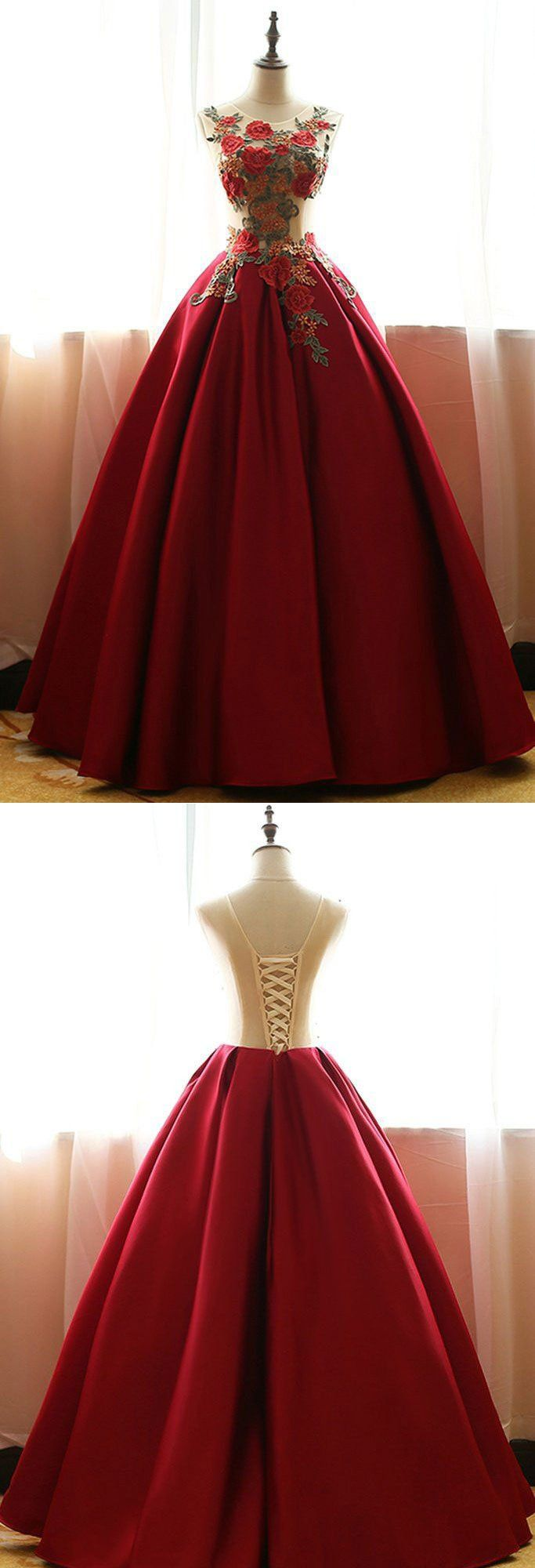 Red Quinceanera Dresses,Satin Prom Dresses With Flowers,Ball Gown Prom Dresses,Rose Applique Prom Gown,A-line Evening Dress,long prom dresses,HS167