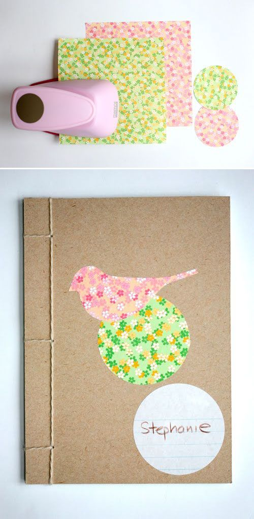 """Poppytalk: DIY: Crafty Book Binding by Janis Nicolay. I Love Japanese stab binding...this reminds me of the SNL """"Put a bird on it"""""""