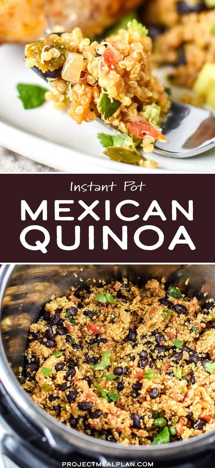Taking quinoa in the Instant Pot up a few notches... to Instant Pot Mexican Quinoa! Super simple, all done in the IP, and makes a great meal prep side dish or burrito filling with a kick! - ProjectMealPlan.com #quinoa #instantpot #mexicanquinoa #easysidedish #sidedishes