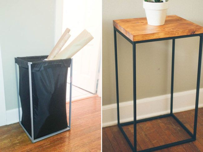 "Guests will never guess this <a href=""http://www.thecleverbunny.com/2013/04/08/diy-ikea-hack-side-table-home/"" target=""_blank"">side table</a> was once a laundry hamper."