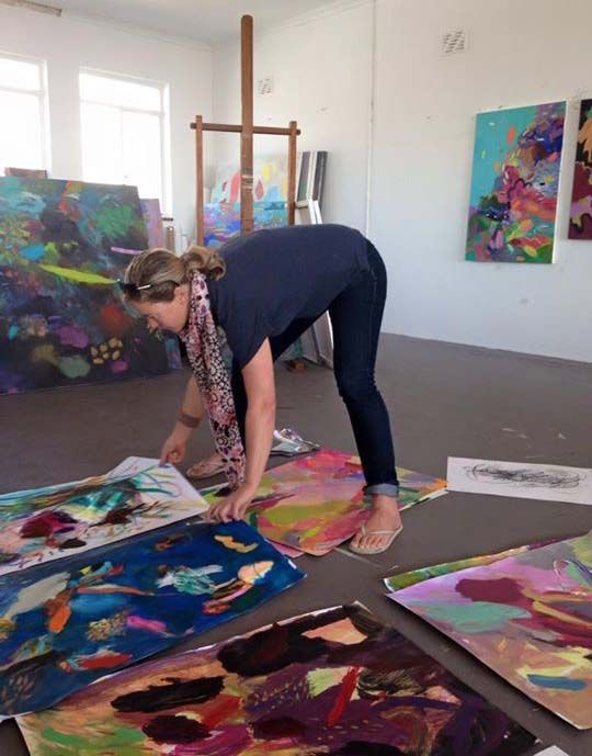 "Cathy Layzell putting works on paper together for her ""Polynesia"" show"