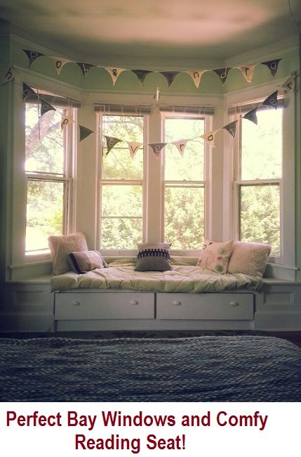 beautiful bay windows in your babys room love the comfy seat could definitely get