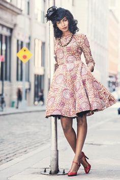 "African Print Dress - ""Jackie O Dress"" ~Latest African Fashion, African Prints, African fashion styles, African clothing, Nigerian style, Ghanaian fashion, African women dresses, African Bags, African shoes, Kitenge, Gele, Nigerian fashion, Ankara, Aso okè, Kenté, brocade. ~DK"