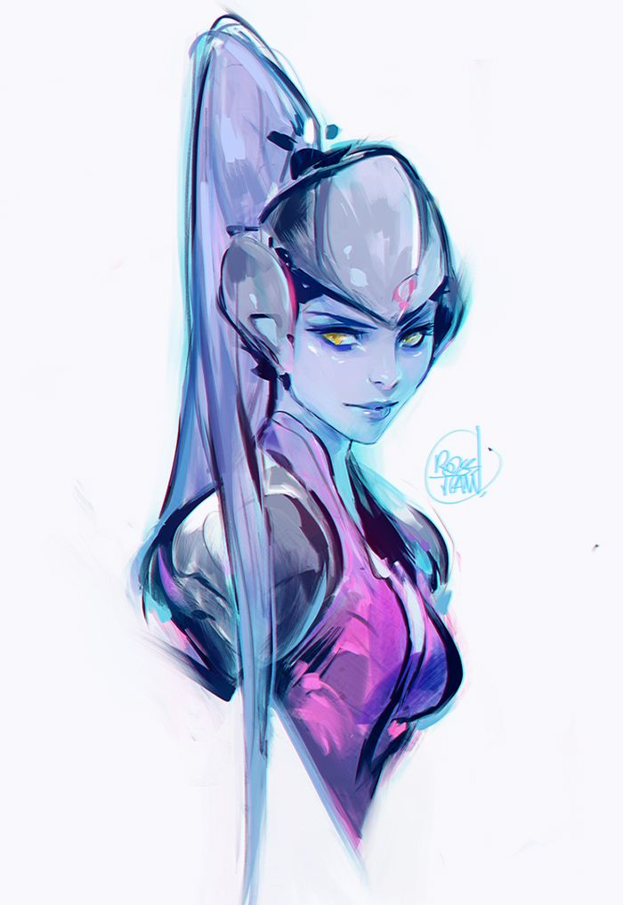 Widowmaker sketch! Drawing her for this week's episode before Halloween :>