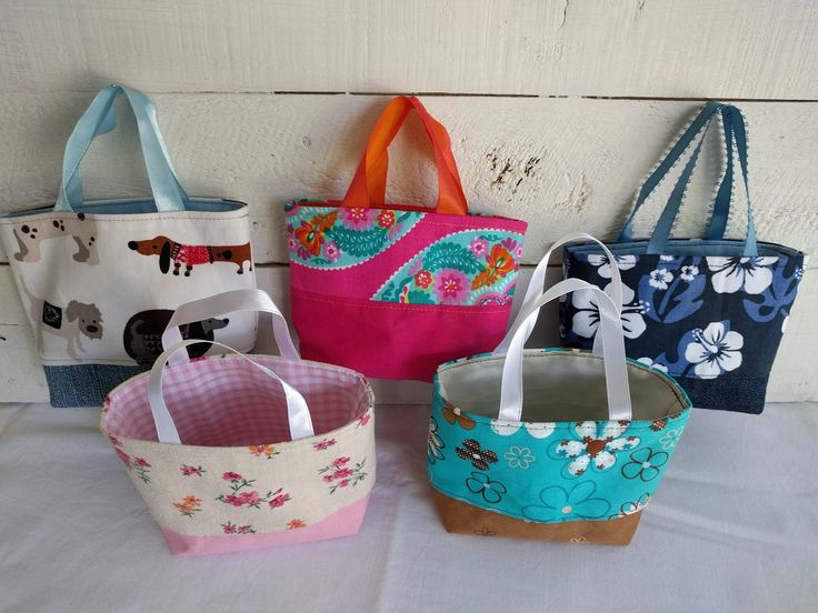Tiny Totes, party favour bags, little tote bags, small fabric bags by ByCatDesign on Etsy