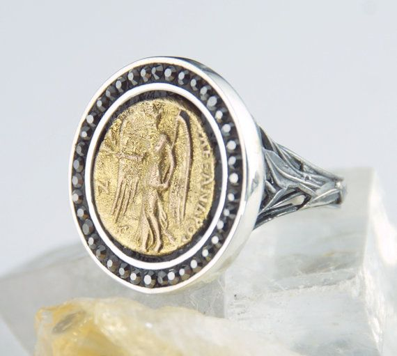 Gold Coin Ring Nike Goddess Of Victory 18k 925