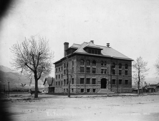 """El Paso County Jail, early 1900's. In 1873, the people of El Paso County voted to move the county seat to Colorado Springs, where it remains today. In that same year, Sheriff Cornelius Eubank was responsible for the construction of the first jail in El Paso County. Prior to the building of the jail, prisoners were kept by """"overseers"""" in private houses. The fee was $1 a day plus meals. Once prisoners were convicted, they were sent to the Pueblo County Jail for a fee of $105 each."""