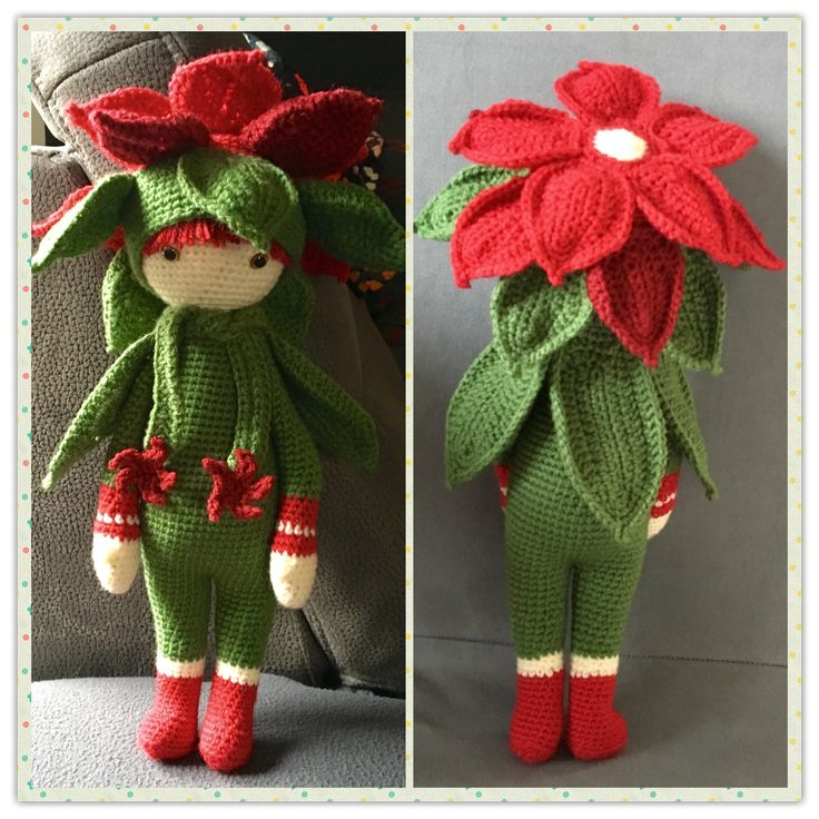 Christmas Star Kris flower doll made by Martina N - crochet pattern by Zabbez