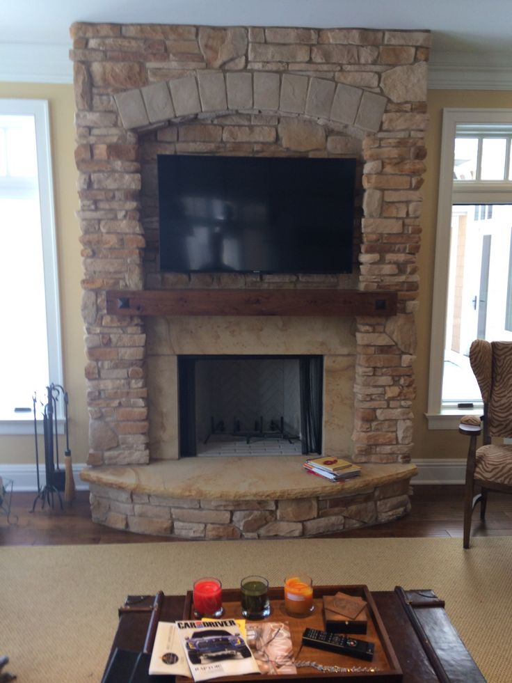 Custom Stone Fireplace W Arched Hearth Bv Sunroom