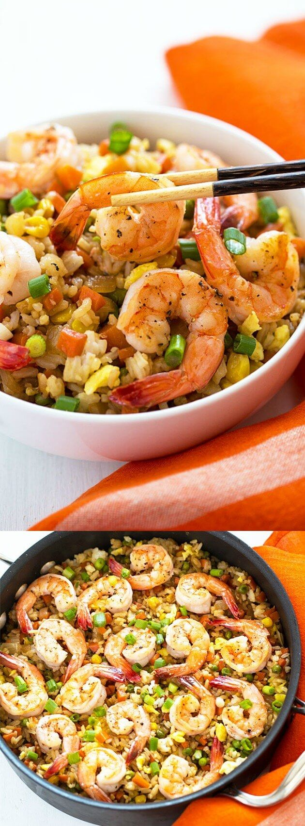 This Shrimp Fried Rice from The Blond Cook is one of the best seafood recipes! The perfectly seasoned fried rice is chock full of juicy shrimp and veggies!
