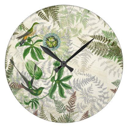 Hummingbird Birds Wildlife Fern Flowers Wall Clock - home gifts ideas decor special unique custom individual customized individualized