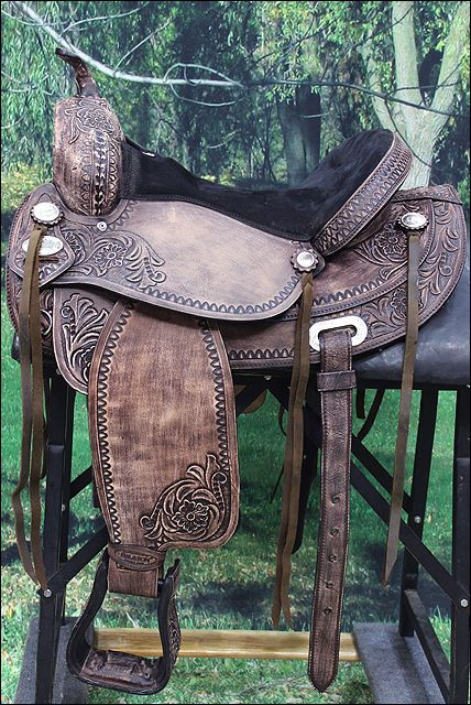 HILASON HORSE TREELESS WESTERN TRAIL BARREL RACING SADDLE ANTIQUE DARK BROWN #HILASON
