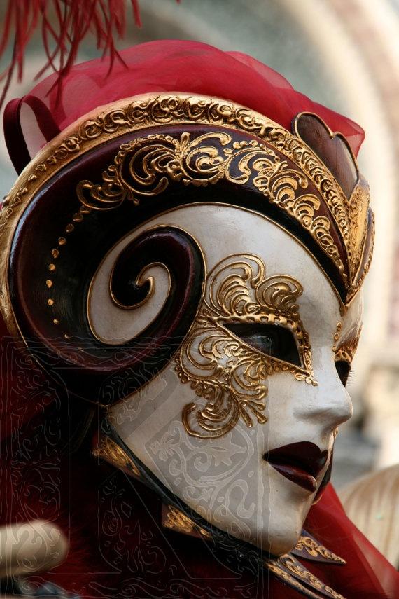 Demon mask, carnival of Venice - Signed photo 4 x 6 by krystarka on etsy
