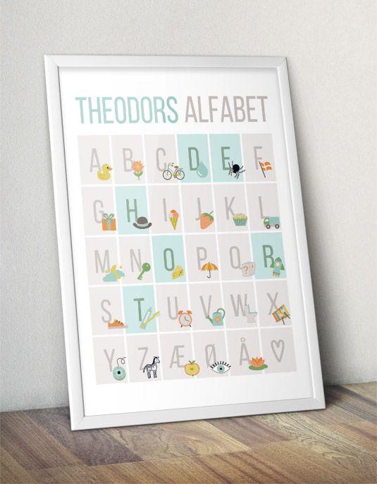 Personal ABC alphabet poster for the kids room   Personlig ABC-plakat med navn - Blå