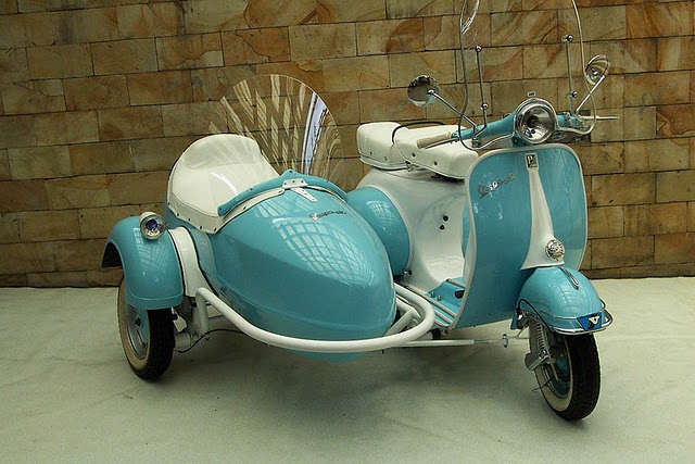 baby blue Vespa w/ sidecar...I can only IMAGINE owning one ...