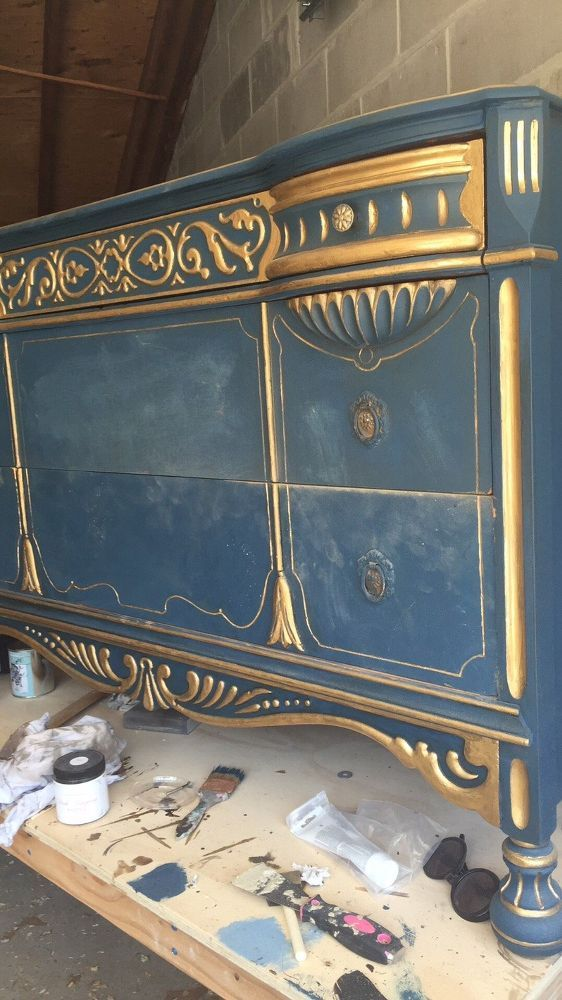 Turn an Old Dresser Bold and Gold!