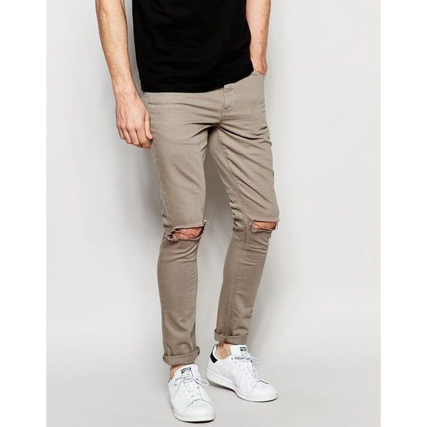 ASOS Super Skinny Jeans With Deep Knee Rips In Taupe (€40) via Polyvore featuring men's fashion, men's clothing, men's jeans, grey, asos mens jeans, mens grey skinny jeans, tall mens jeans, mens distressed skinny jeans et mens skinny jeans