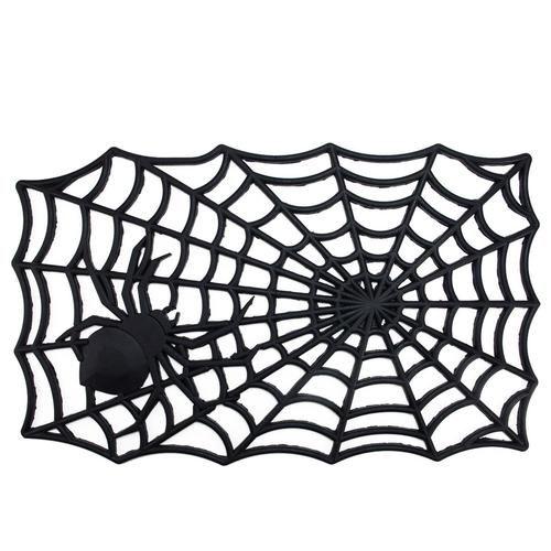 """Decorative Black Spider Web Outdoor Rubber Halloween Door Mat 29"""""""" x 17.75"""""""""""
