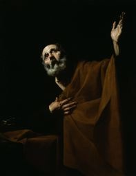 """This painting by Spanish artist, Jusepe de Ribera, """"The Penitent Saint Peter,"""" may be my favorite in all of the Institute. You can almost hear him crying out to God as you gaze on the face of Peter gazing toward heaven with arm raised."""
