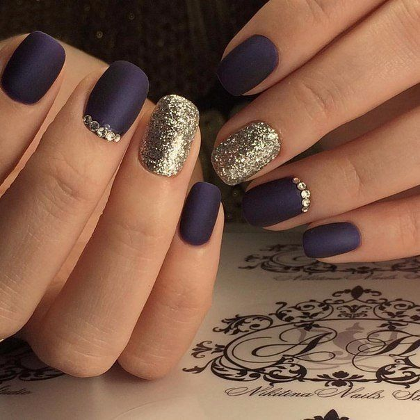 Accurate nails, Black dress nails, Evening nails, Festive nails, Foil nail art, Luxurious nails, Matte nails, Nails by a dark blue dress