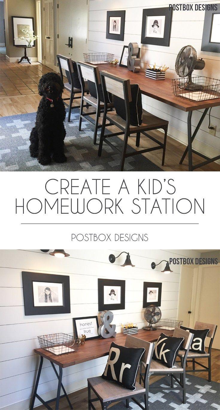 Postbox Designs Interior E Design: Kidu0027s Homework Station Makeover: Get The  FREE Mood Board + Shopping List, Kidu0027s Decor, Homework Center, Online  Interior ...