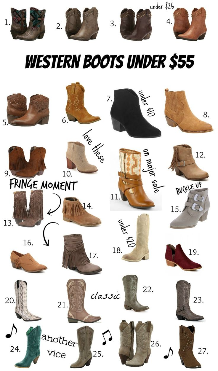 27 pairs of cowboy/western boots under $55. cheap cowgirl boots.