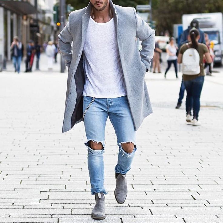 Gray overcoat ripped jeans and #chelseaboot by @magic_fox  [ http://ift.tt/1f8LY65 ]