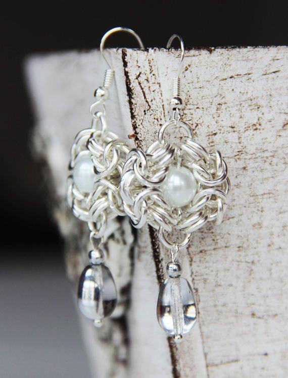 Chainmaille Earrings  Romanov Earrings  by Artefaktorium on Etsy