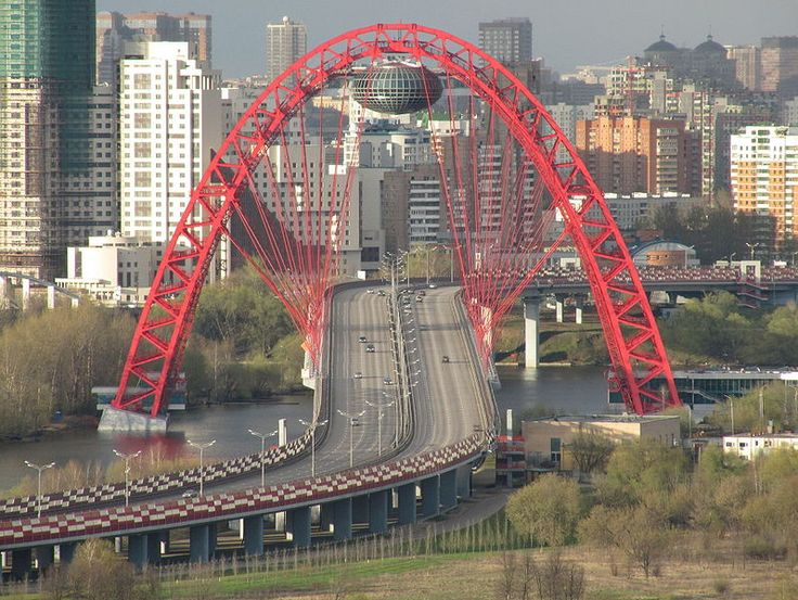 Zhivopisny Bridge, North-Western Moscow, Russia. Cable-stayed bridge spanning the Moskva river. Opened in December 2007. [17]