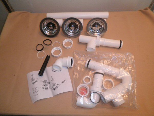 "Teka 52408 Sink Plumbing Drain Kit with 3 1/2"" Basket Strainers Pipes Fittings #Teka"
