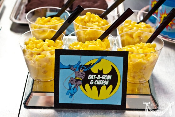 Vintage Batman Super Hero Party - BAt-A-roni and Cheese, Batmobile Burgers, Mr Freeze pops, Joker Juice etc..