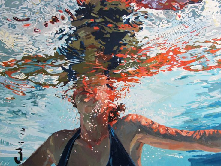 "swimming paintings | Three feet under, 48x36"", Oil on canvas, 2011"