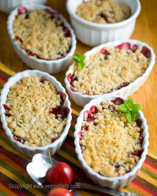 Cherry crisp with fresh Cherries. Mine are in the oven right now. Made this recipe once before and just made one big one. I like more topping so I chose to make individual servings tonight. Absolutely delish....