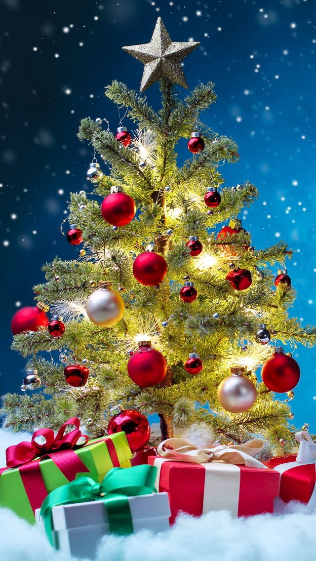 Tap image for more Christmas Wallpapers! Christmas Tree - iPhone wallpapers @mobile9