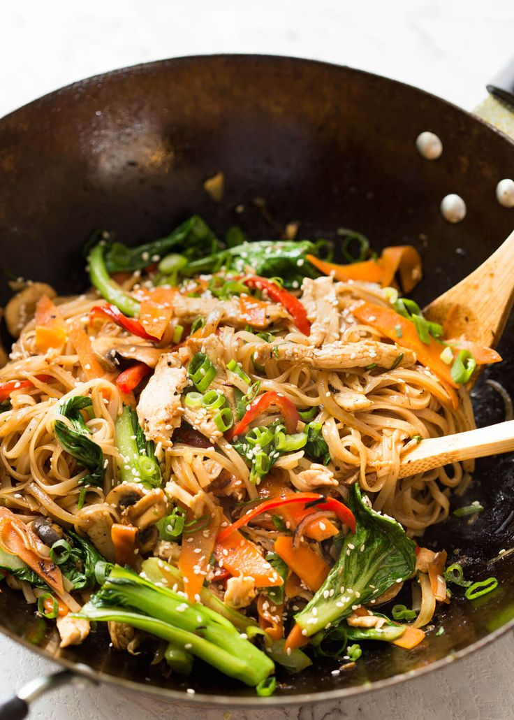 A versatile Chicken Stir Fry with Rice Noodles recipe that's terrific to make using bits and bobs leftover in your fridge and any dried or fresh noodles.