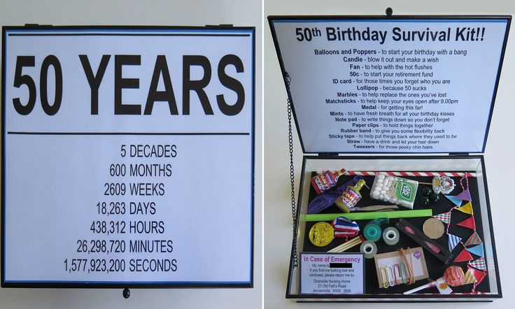 Woman gifts her friend a survival kit for her 50th