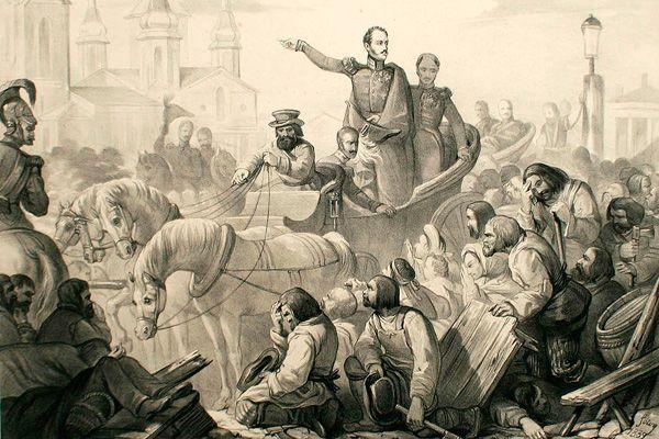 Николай I во время холерного бунта в Петербурге в 1831 г. Литография, 1839