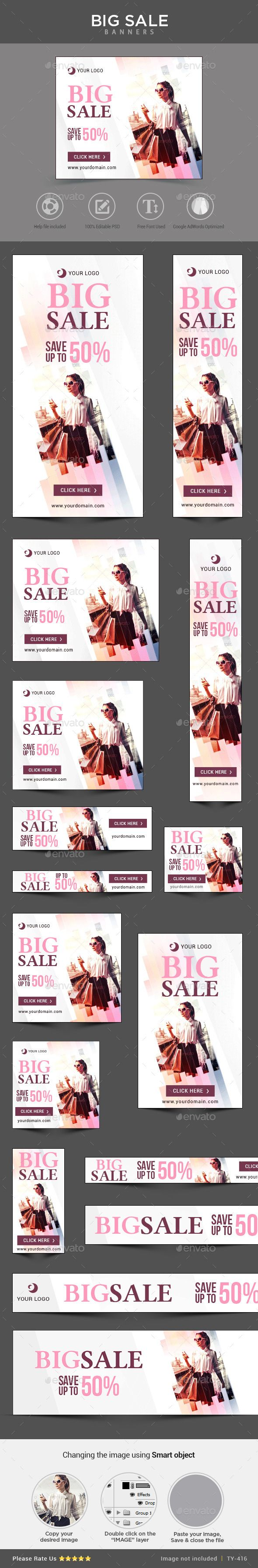 Big Sale Banners Template #web #design Download: http://graphicriver.net/item/big-sale-banners/11215665?ref=ksioks