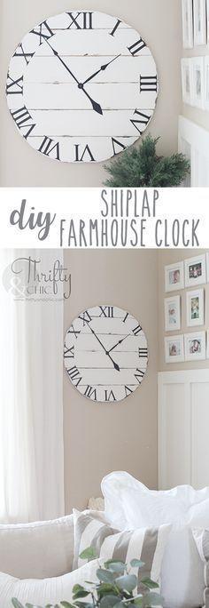 DIY shiplap wall clock tutorial. DIY wood clock tutorial. DIY farmhouse style clock. DIY farmhouse home decor and decorating ideas