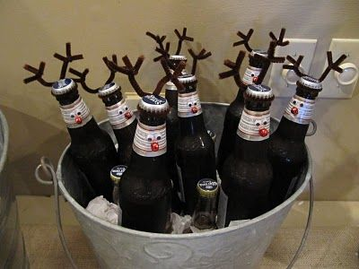 Rein-Beer (cute on soda bottle for school)...I saw this idea some where in blog land...too cute! Hot glued eyes, red nose and then brown pipe cleaner for the antlers.