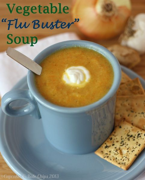 Vegetable Flu Buster Soup is a delicious, creamy vegetable soup without any cream, packed with lots of ingredients to make you feel better! | cupcakesandkalechips.com | vegetarian, vegan, gluten free