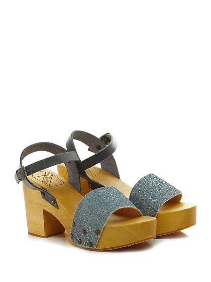 Antidoti - Sandalo alto - Donna - Sandalo alto in glitter e pelle con cinturino alla caviglia e suola in gomma. Tacco 95, platform 40 con battuta 55. - SILVER\PIOMBO - € 95.00