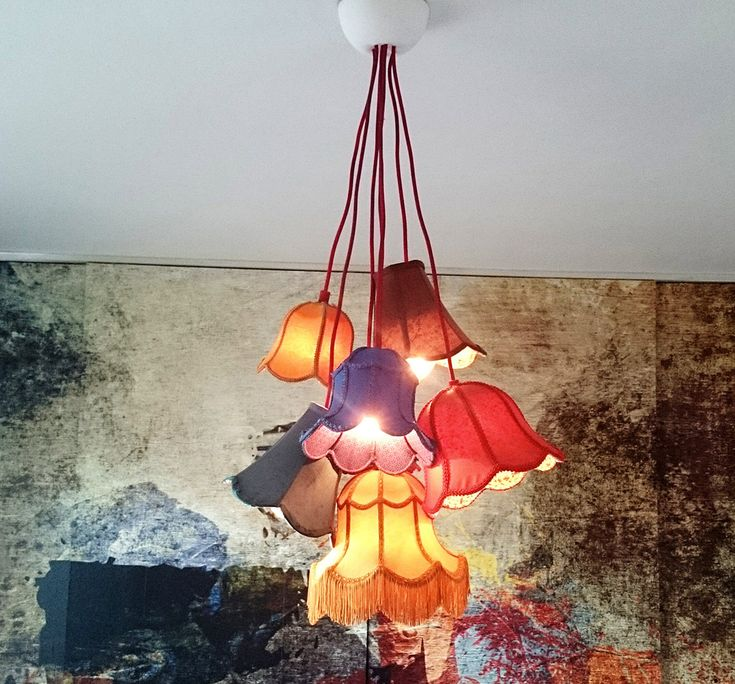 Gamla lampskärmar blir mysig taklampa   Fixat
