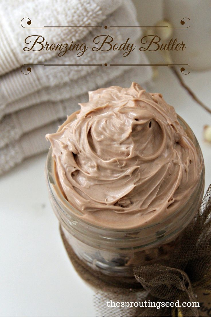 DIY Bronzing Whipped Body Butter made with essential oil