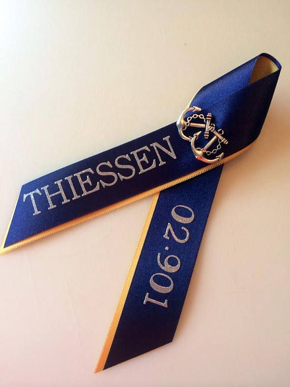 Commemorate your Sailors upcoming Pass In Review and graduation from Recruit Training Command in style. Ribbon is approximately 6 long by 3 wide and Customized with name, ship, division, or whatever you like! Navy PIR ribbons have double anchor charms. Lettering is silver matte,