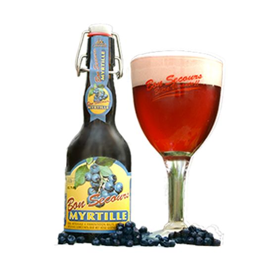 Bon Secours Myrtille / Dit unieke bier (7%) is het resultaat van een maceratie van sap van blauwe bessen en geeft een eerder donkerrode kleur, onder een compacte en ietwat rode schuimkraag. Uitgesproken aroma's van blauwe bessen. In de mond proeven we een droog en weinig gesuikerd bier met toch een sterke fruitsmaak.