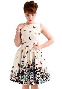 Beautiful White Butterfly, Tea dress - Lady Vintage