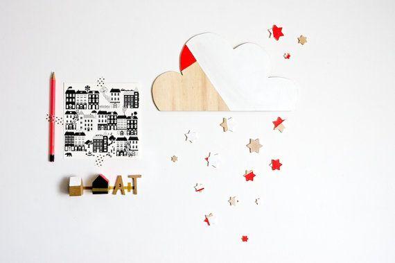 Nuovola e stelle di legno dipinte home decor di tulimami su Etsy, €25.00