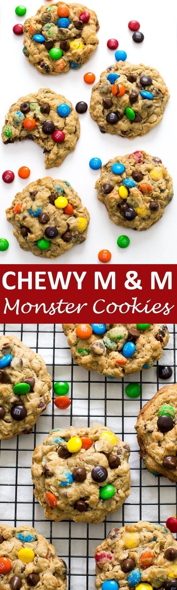 Thick and Chewy Monster M & M Cookies loaded with chocolate chips, M & Ms, peanut butter, and oats! They take only 20 minutes to make! | chefsavvy.com #recipe #chewy #peanut #butter #cookies #monster #dessert #m&m