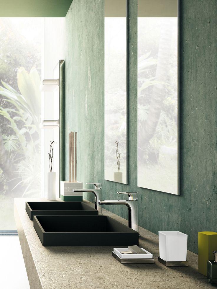 Deck-mounted wash basin mixer, Chrome finishing